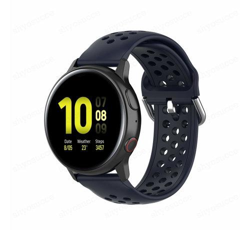 Strap-it® Strap-it® Samsung Galaxy Watch 41mm / 42mm siliconen bandje met gaatjes (donkerblauw)