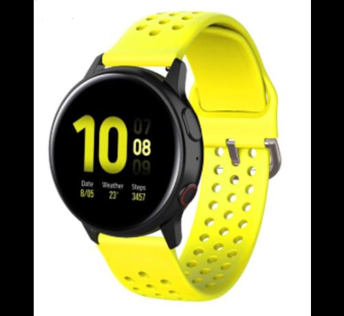 Strap-it® Strap-it® Samsung Galaxy Watch 41mm / 42mm siliconen bandje met gaatjes (geel)