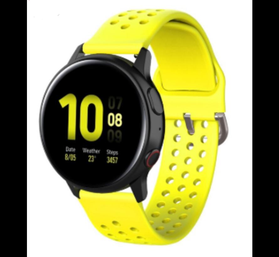 Strap-it® Samsung Galaxy Watch 41mm / 42mm siliconen bandje met gaatjes (geel)