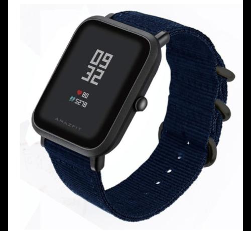 Strap-it® Strap-it® Xiaomi Amazfit Bip nylon gesp band (blauw)