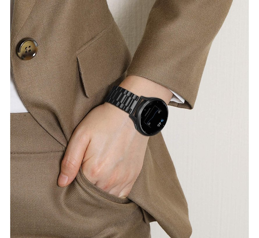 Strap-it® Garmin Vivoactive 4s stalen band - 40mm - zwart