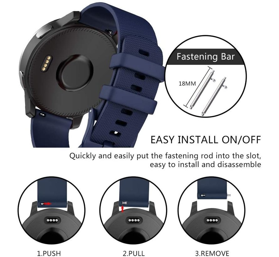Strap-it® Garmin Vivomove 3s silicone band - 39mm - donkerblauw