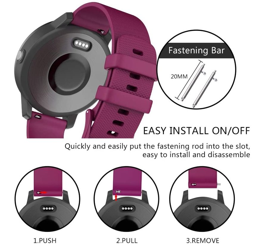 Strap-it® Garmin Vivomove 3s silicone band - 39mm - donkerrood