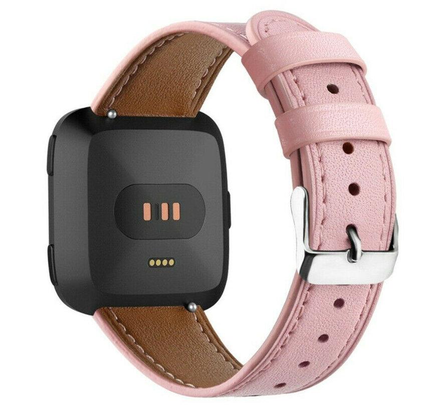 Strap-it® Fitbit Versa leren bandje (roze)