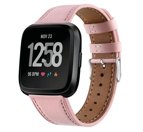 Strap-it® Strap-it® Fitbit Versa leren bandje (roze)