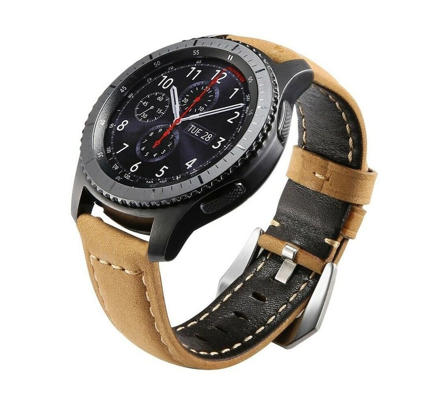 Strap-it® Samsung Galaxy Watch kalfsleren band 45mm / 46mm (bruin)