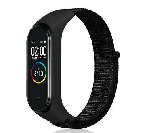 Strap-it® Strap-it® Xiaomi Mi band 3 / 4 nylon bandje (zwart)