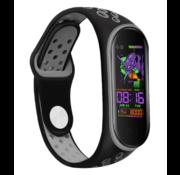 Strap-it® Xiaomi Mi band 5 sport bandje (zwart/grijs)