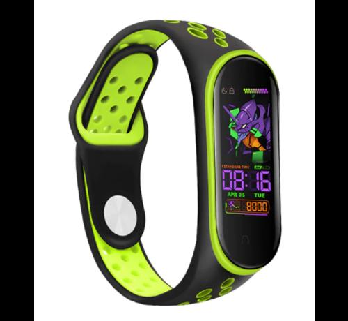 Strap-it® Strap-it® Xiaomi Mi band 5 sport bandje (zwart/groen)