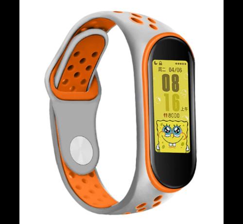 Strap-it® Strap-it® Xiaomi Mi band 5 sport bandje (grijs/oranje)