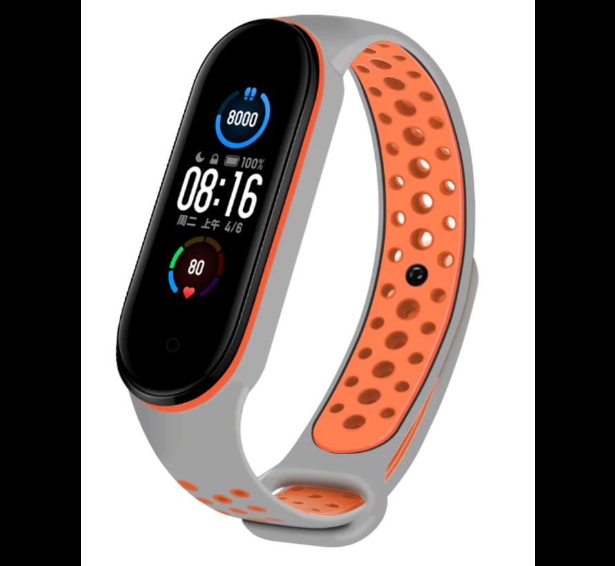 Strap-it® Xiaomi Mi band 5 sport bandje (grijs/oranje)