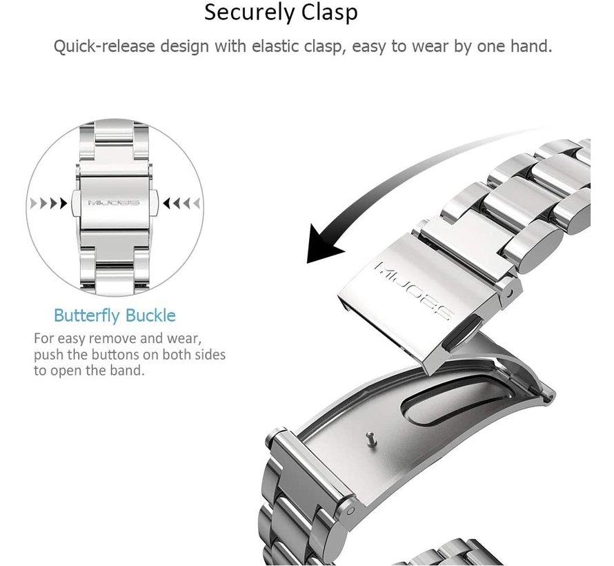Strap-it® Xiaomi Mi band 5 stalen bandje (zilver)