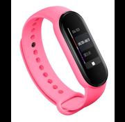 Strap-it® Xiaomi Mi band 5 siliconen bandje (knalroze)