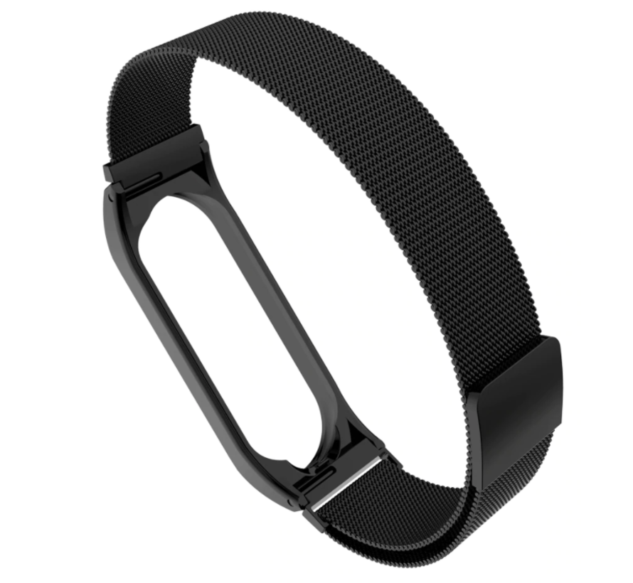 Strap-it® Xiaomi Mi band 3 / 4 Milanese band (zwart)