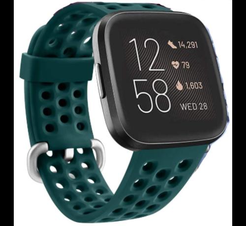 Strap-it® Strap-it® Fitbit Versa siliconen bandje met gaatjes (groen)