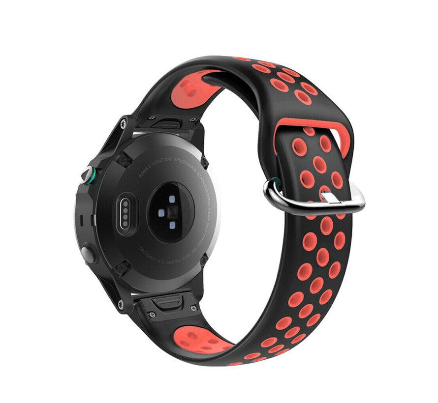 Strap-it® Garmin Fenix 5 / 6 sport band (zwart/rood)