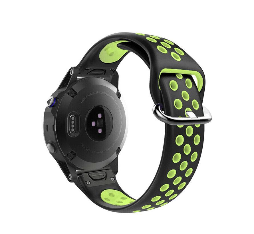 Strap-it® Garmin Fenix 5 / 6 sport band (zwart/geel)