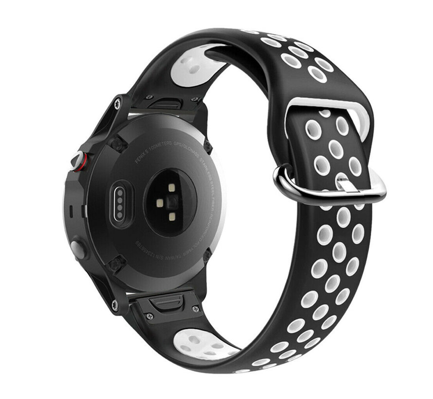 Strap-it® Garmin Fenix 5 / 6 sport band (zwart/wit)