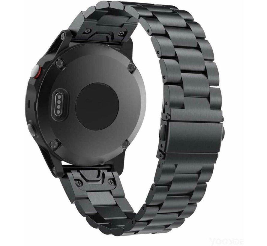 Strap-it® Garmin Fenix 5 / 6 stalen band (zwart)