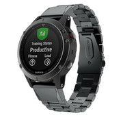 Strap-it® Garmin Fenix 5 / 6 stalen band (zwart)