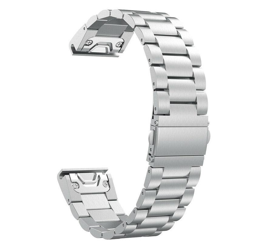 Strap-it® Garmin Fenix 5 / 6 stalen band (zilver)