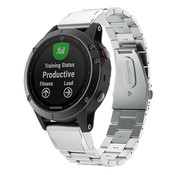 Strap-it® Garmin Fenix 5 / 6 stalen band (zilver)