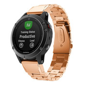 Strap-it® Garmin Fenix 5 / 6 stalen band (rosé goud)