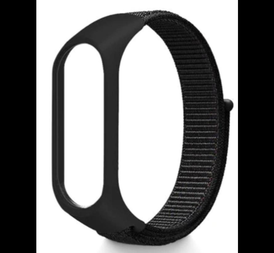Strap-it® Xiaomi Mi band 3 / 4 nylon bandje (zwart)