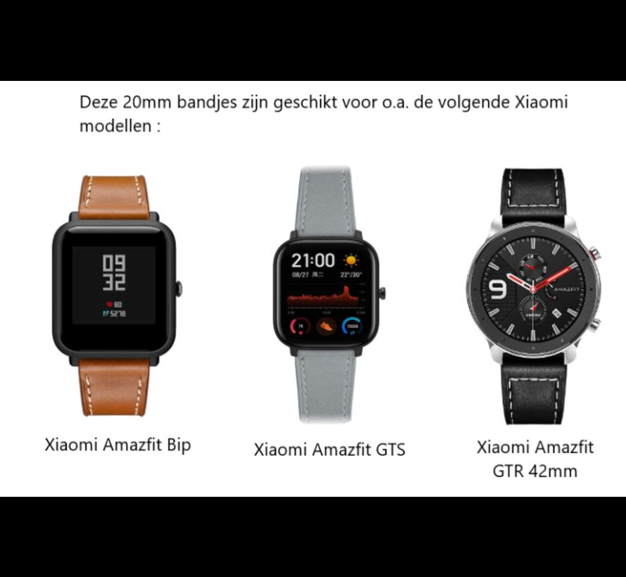 Strap-it® Xiaomi Amazfit Bip leren bandje (zwart)