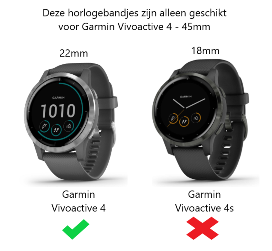 Strap-it® Garmin Vivoactive 4 stalen band - 45mm - zilver/zwart