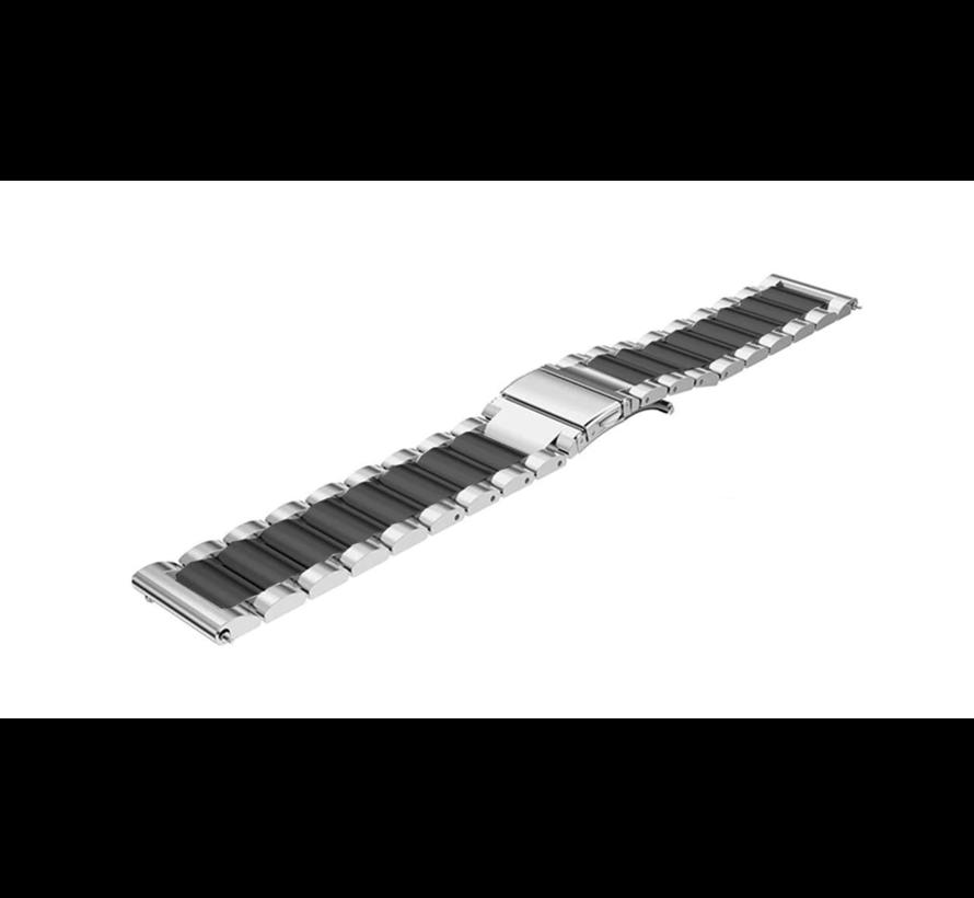 Strap-it® Garmin Venu stalen band (zilver/zwart)