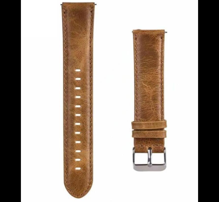 Strap-it® Garmin Venu leren bandje (bruin)