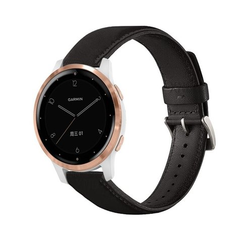 Strap-it® Strap-it® Garmin Vivoactive 4s leren band - 40mm - zwart