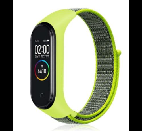 Strap-it® Strap-it® Xiaomi Mi band 3 / 4 nylon bandje (geel-groen)