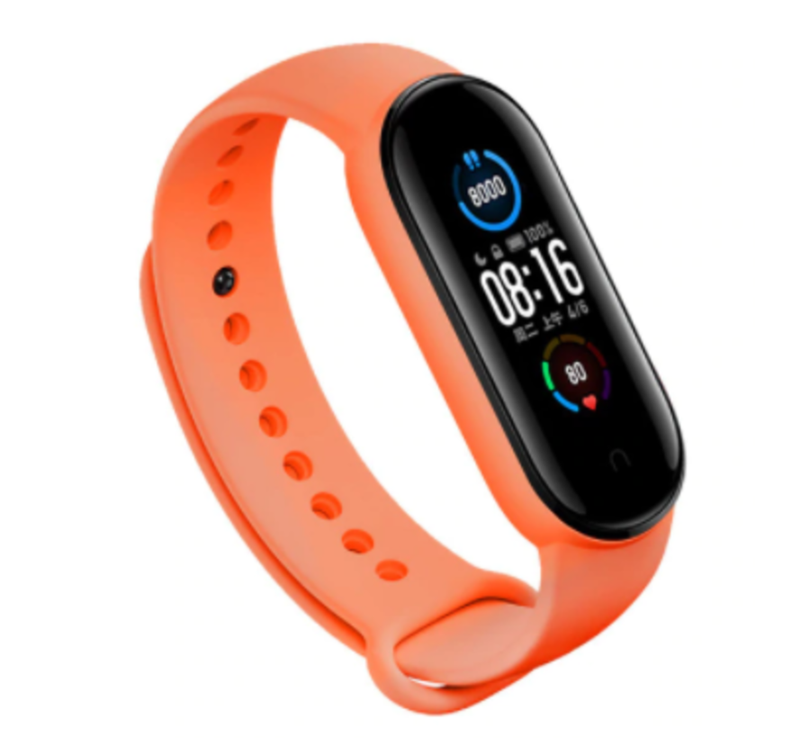 Strap-it® Xiaomi Mi band 5 siliconen bandje (oranje)