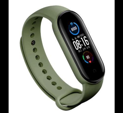 Strap-it® Strap-it® Xiaomi Mi band 5 siliconen bandje (groen)