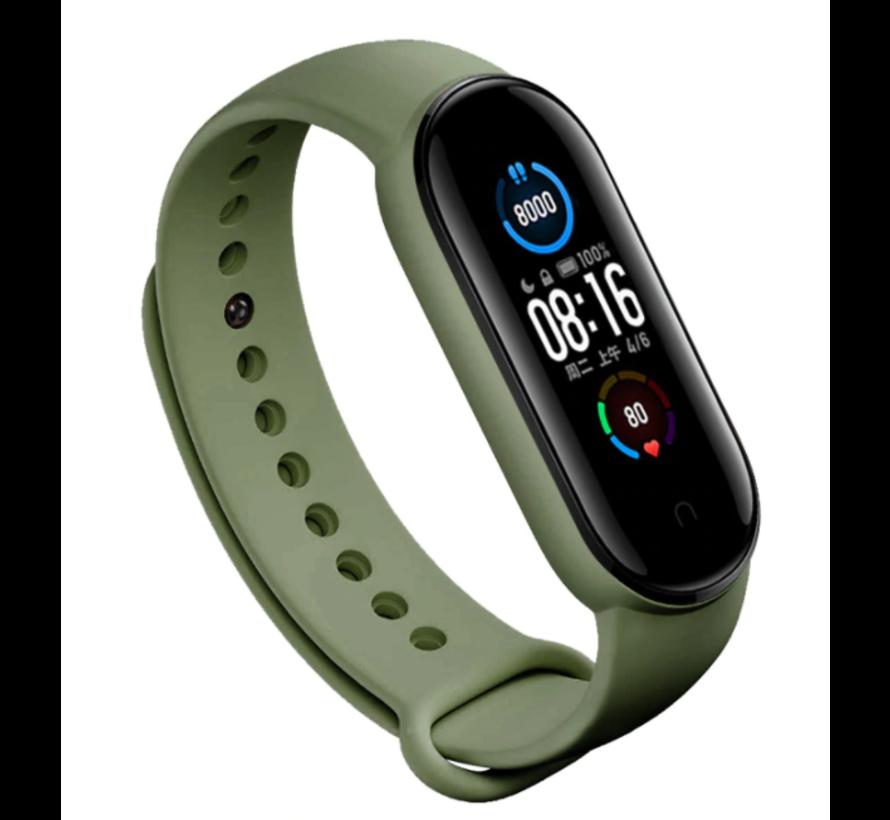 Strap-it® Xiaomi Mi band 5 siliconen bandje (groen)