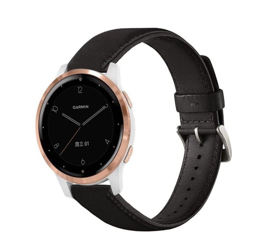Strap-it® Garmin Vivomove 3s leren bandje - 39mm - zwart