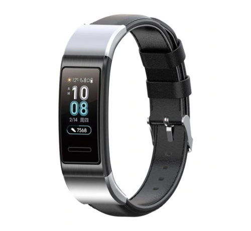 Strap-it® Strap-it® Huawei band 3 / 4 Pro leren bandje (zwart)