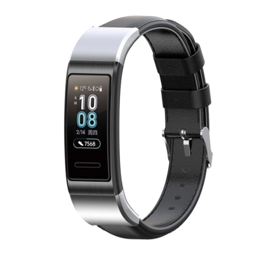 Strap-it® Huawei band 3 / 4 Pro leren bandje (zwart)