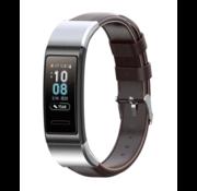 Strap-it® Huawei band 3 / 4 Pro leren bandje (donkerbruin)