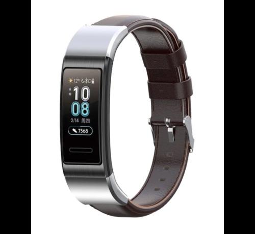 Strap-it® Strap-it® Huawei band 3 / 4 Pro leren bandje (donkerbruin)