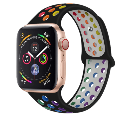 Strap-it® Strap-it® Apple Watch sport+ band (kleurrijk zwart)