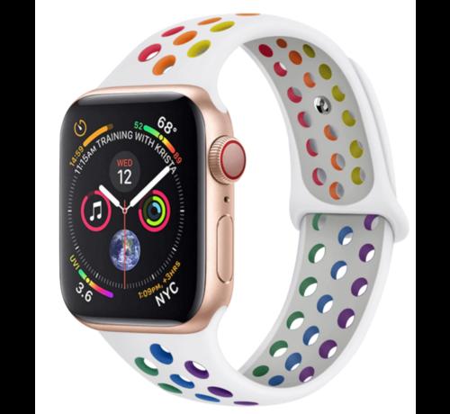 Strap-it® Strap-it® Apple Watch sport+ band (kleurrijk wit)