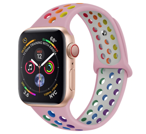 Strap-it® Strap-it® Apple Watch sport+ band (kleurrijk roze)