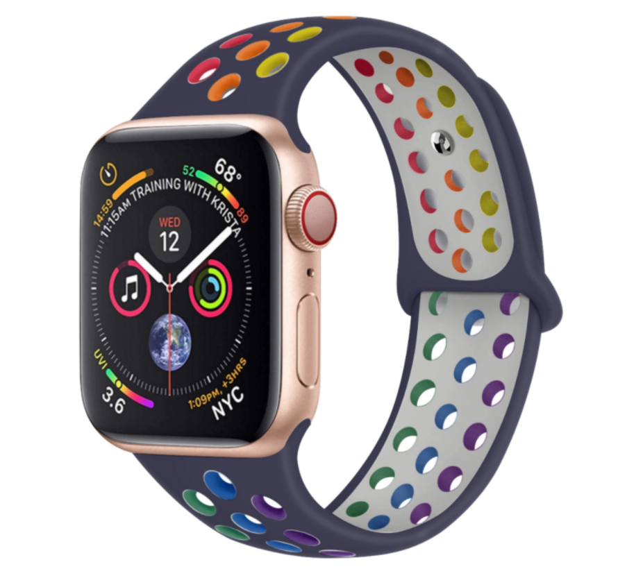 Strap-it® Apple Watch sport+ band (kleurrijk donkerblauw)