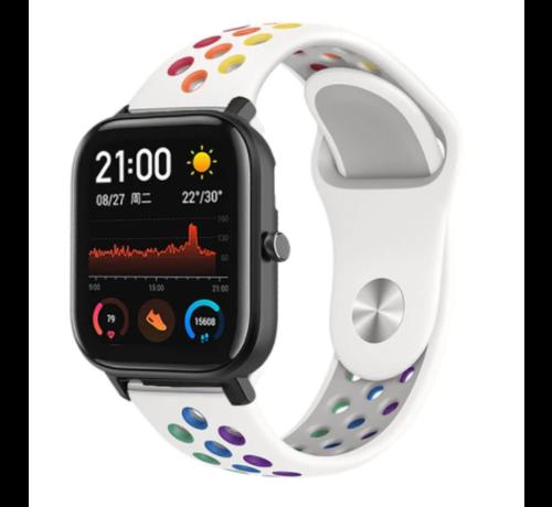 Strap-it® Strap-it® Xiaomi Amazfit GTS sport band (kleurrijk wit)