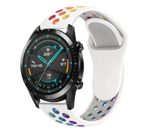 Strap-it® Strap-it® Huawei Watch GT sport band (kleurrijk wit)