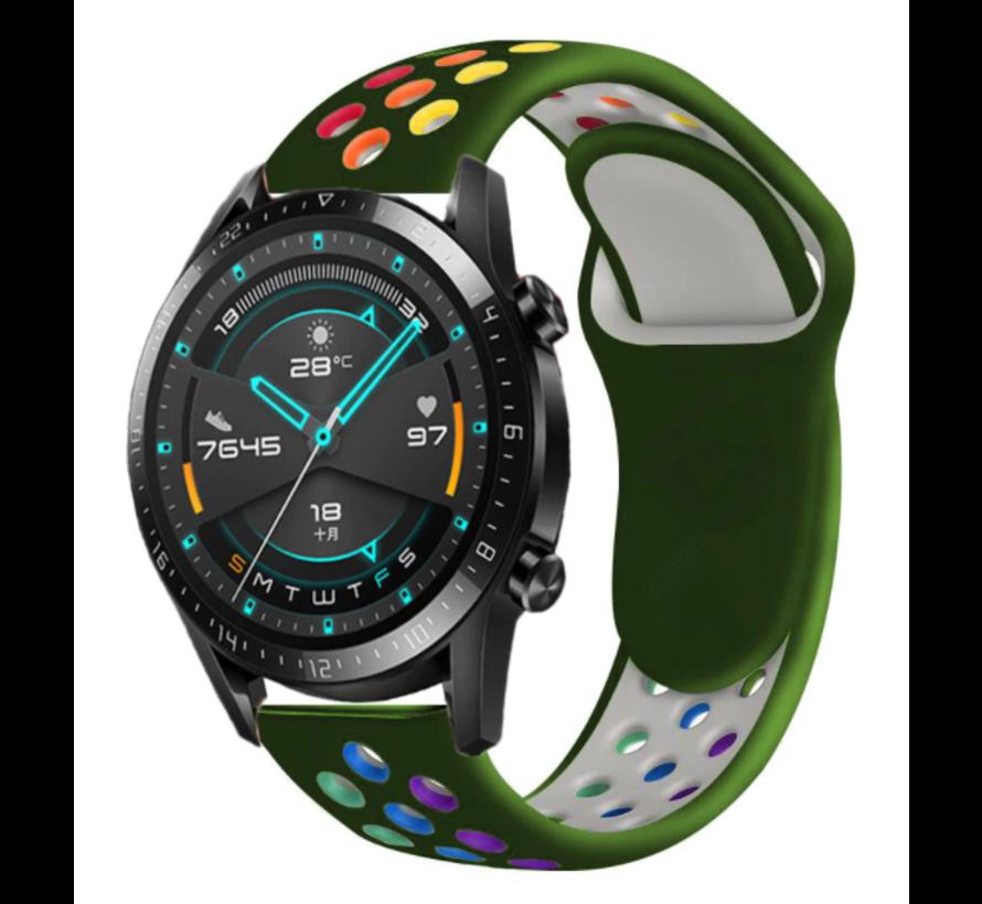 Strap-it® Huawei Watch GT sport band (kleurrijk legergroen)