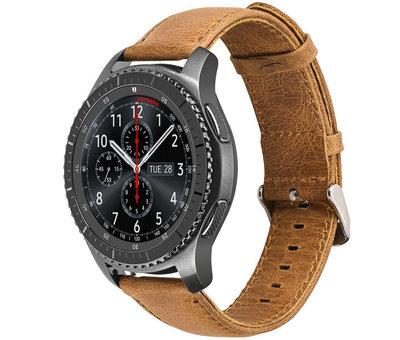 Strap-it® Strap-it® Samsung Galaxy Watch leren band 45mm / 46mm (bruin)